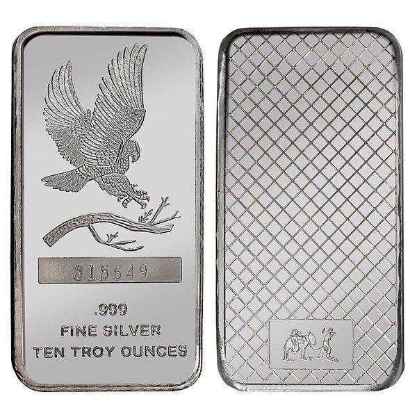 10 Oz Eagle Design .999 Fine Silver Bar