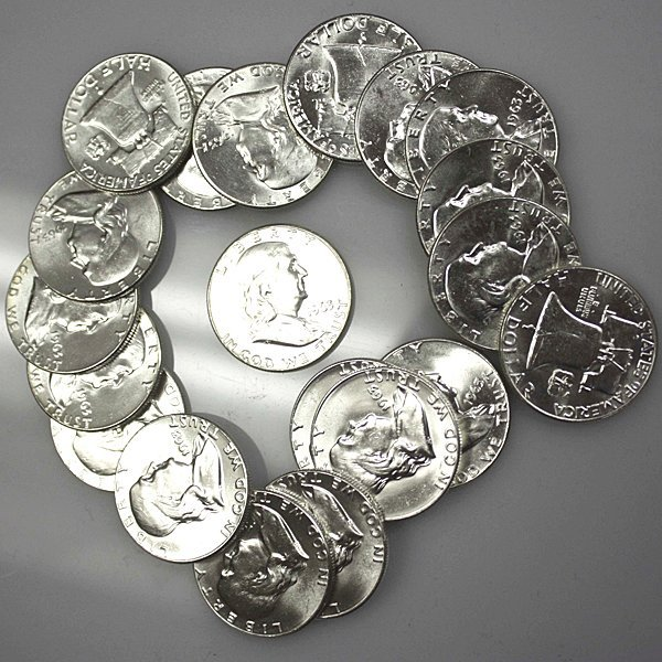 $10 Franklin Silver Half Dollar BU Roll - Random Dates