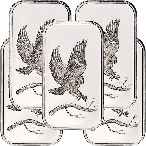 1 Oz Eagle Design .999 Fine Silver Bar 5-Bar Set