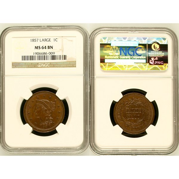 1857 Braided Hair Large Cent MS64 NGC
