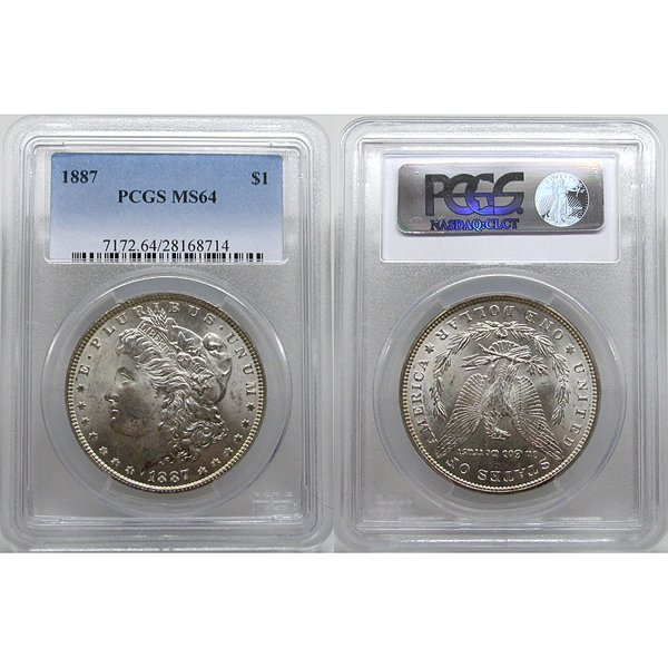 1887 $1 Morgan Silver Dollar MS64 PCGS