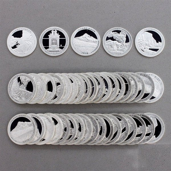 2010-S Proof Silver ATB Quarter 40-Coins Roll