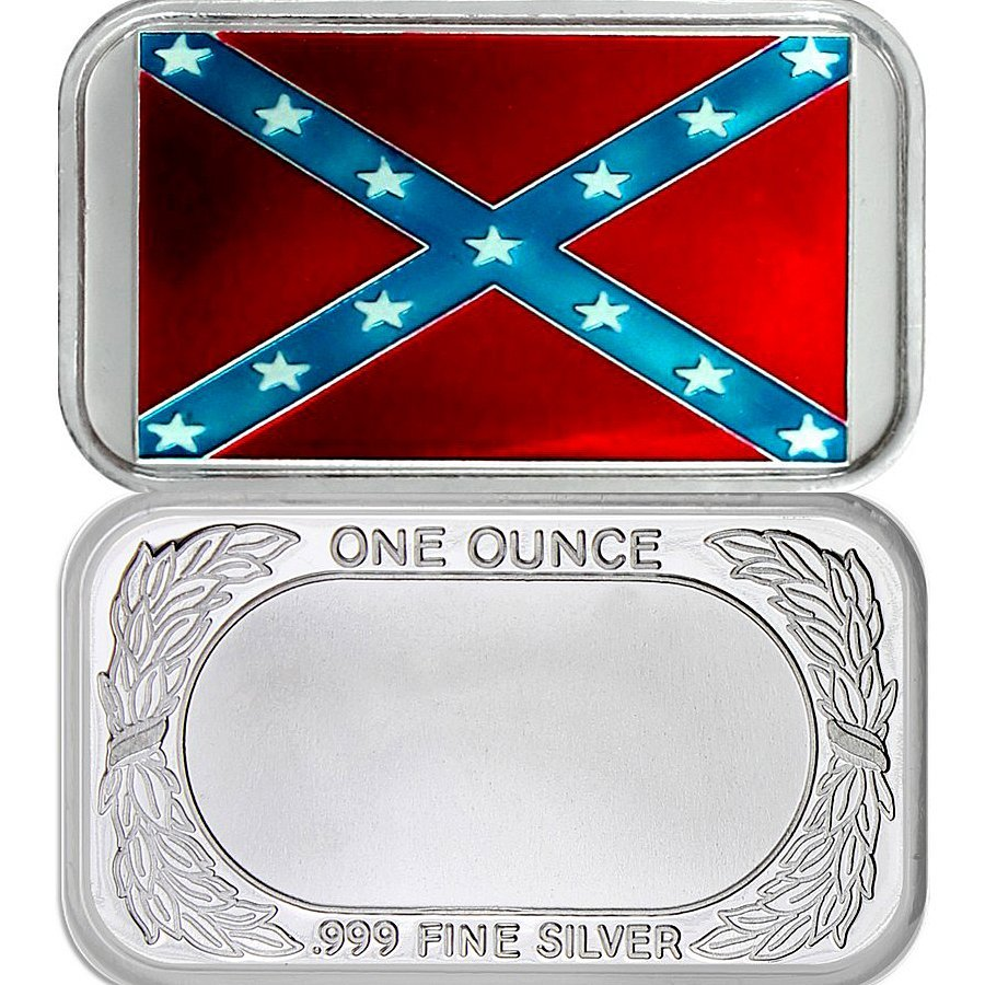 1 Oz Confederate Flag .999 Silver Bar - Colorized
