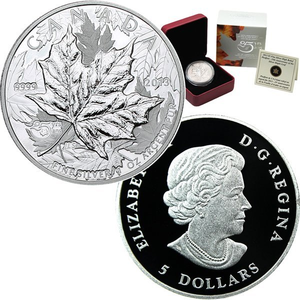 2013 25th Ann Proof Silver Maple Leaf High Relief