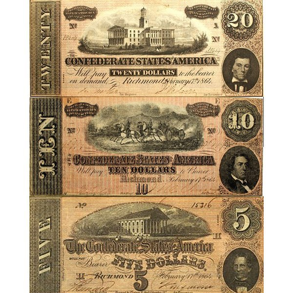 1864 $20,-$10,-$5 Confederate Notes - Very Fine