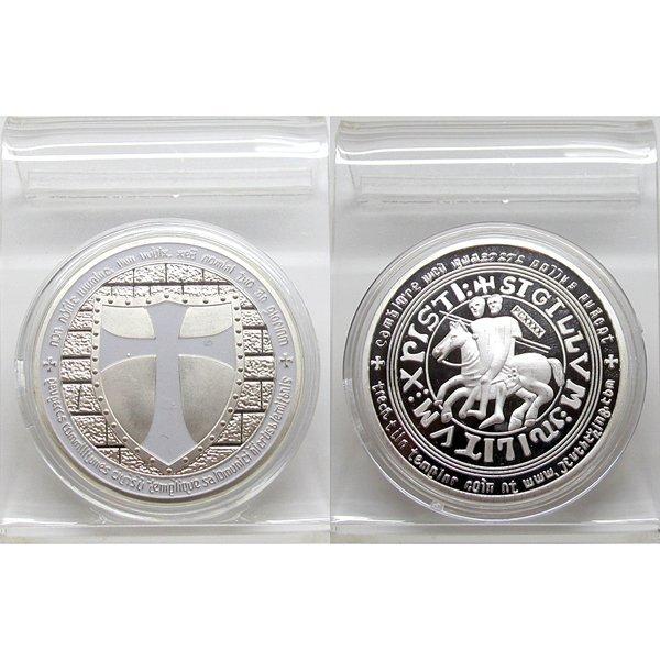 1 Oz White Knight Templar Design Silver Plated Coin