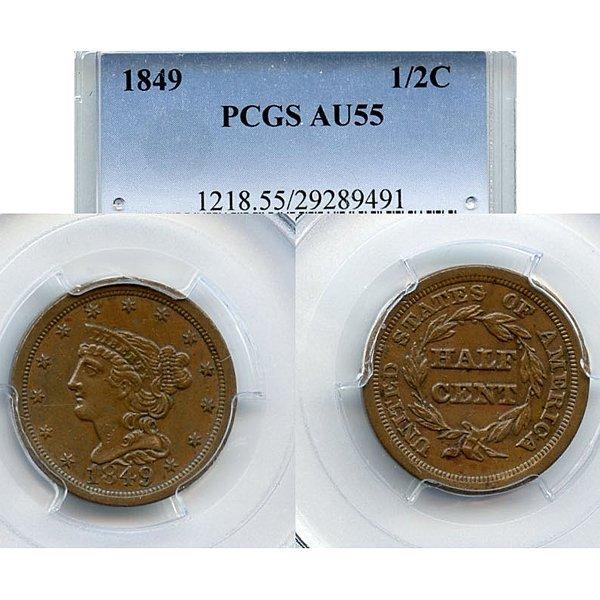 1849 Braided Hair Half Cent AU55 PCGS