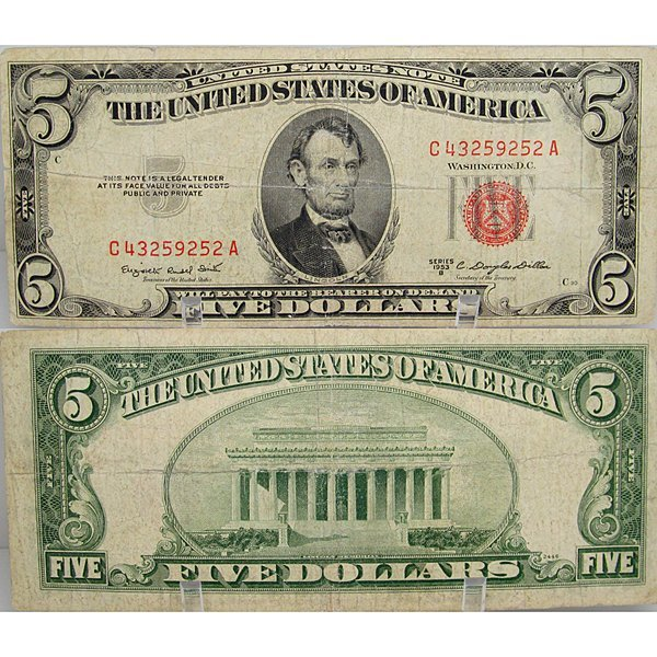 1953 $5 Bill - Red Seal Note - Very Fine-30