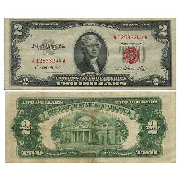 1953 $2 Bill - Red Seal Note - XF-AU