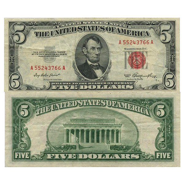 1953 $5 Bill - Red Seal Note - XF-AU