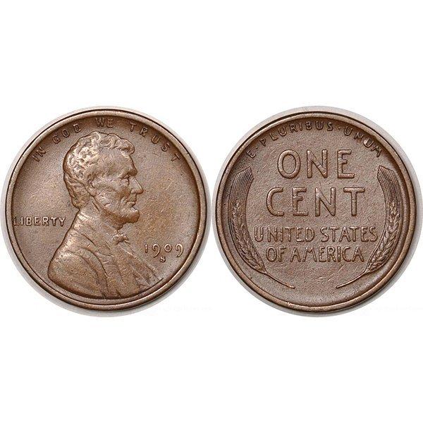 1909-S Lincoln Wheat Cent - AU-50
