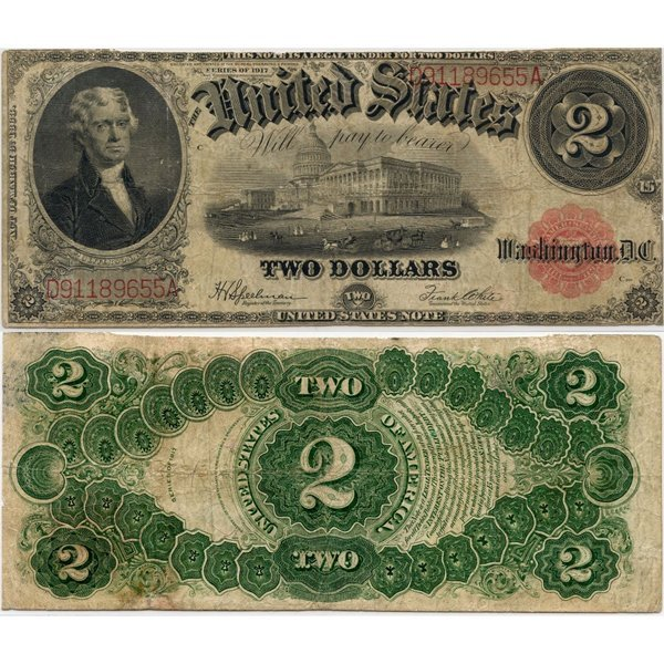 1917 $2 Legal Tender - Large Size Note - Fine