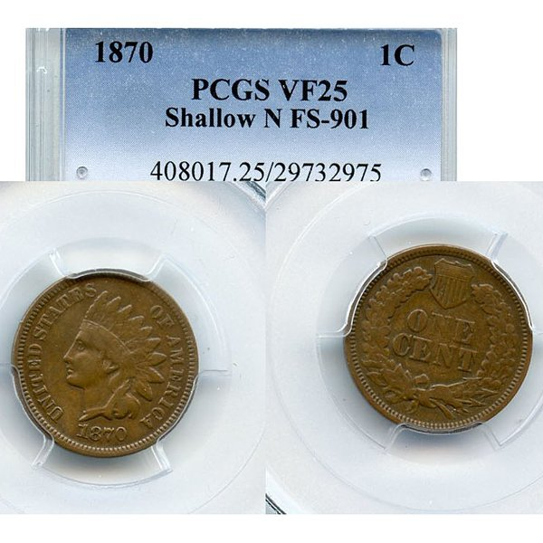 1870 Indian Head Cent - VF25 FS-901 PCGS