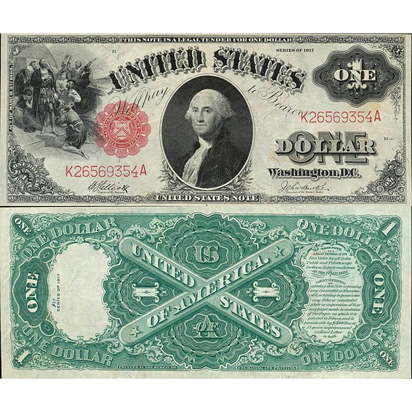 1917 $1 Legal Tender - Large Size Note - Extra Fine