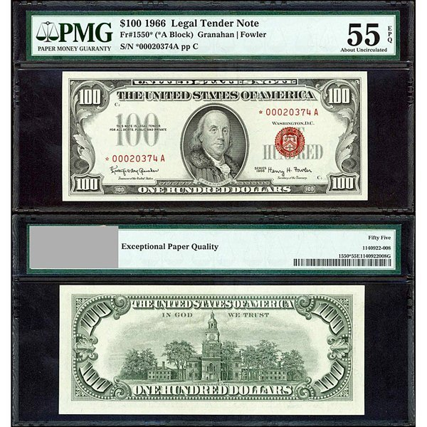1966 $100 Legal Tender Note AU55 PMG - *Star Note