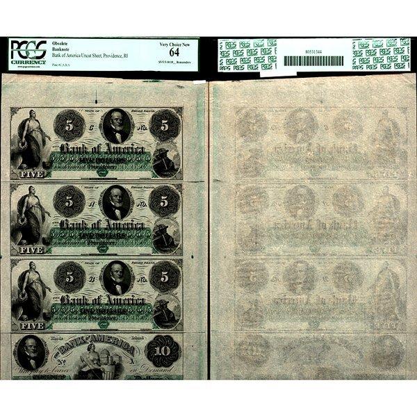 1860 $5 and $10 Uncut sheet Rhode Island MS64 PCGS