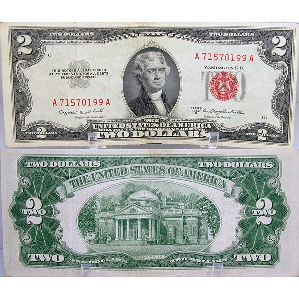 1953 $2 Bill - Red Seal Note - Uncirculated
