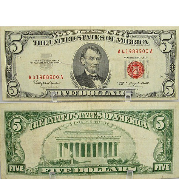 1963 $5 Bill - Red Seal Note - Extra Fine