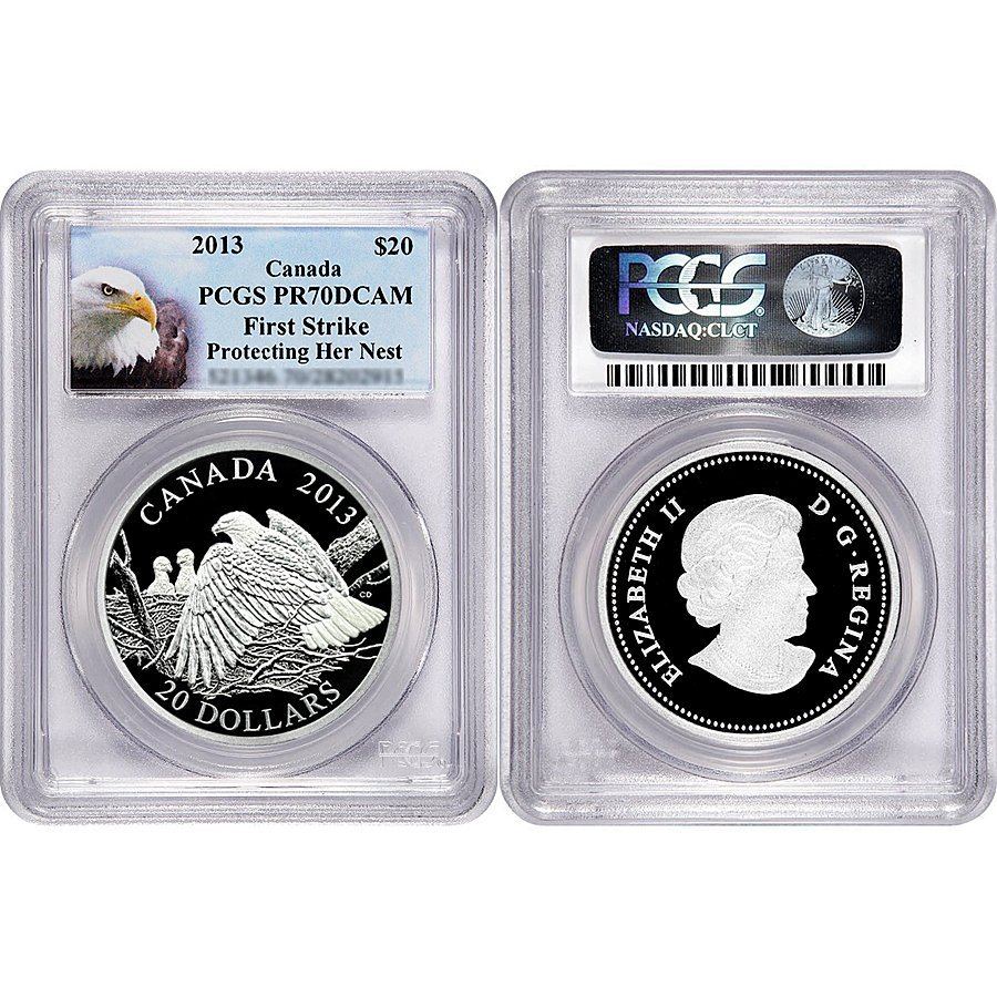 2013 Proof Silver Bald Eagle Protecting PR70 FR PCGS -