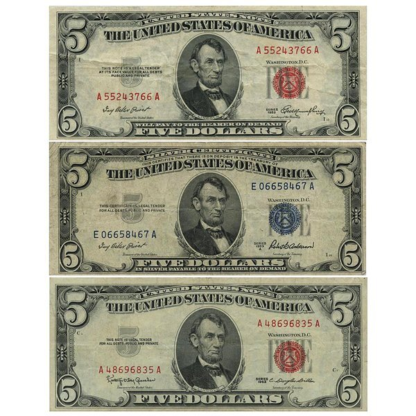 1953 $5 Red & Blue Seal + 1963 Red Seal Notes