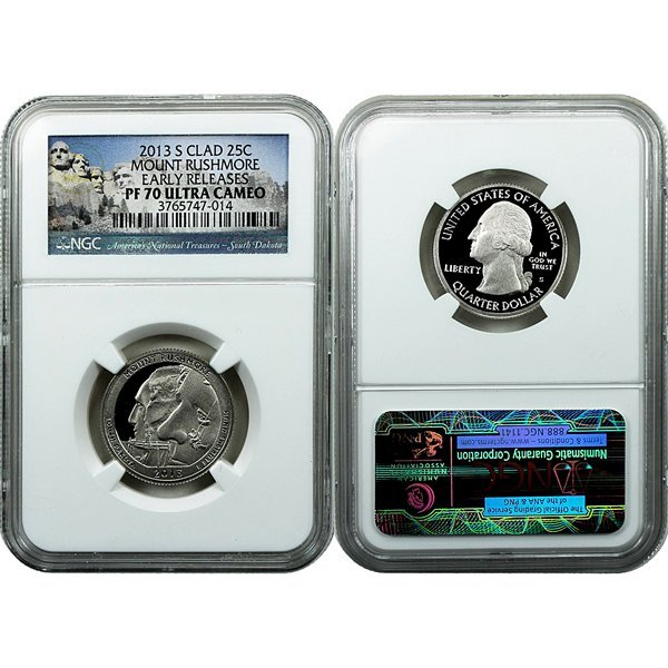 2013-S ATB Clad 25C Rushmore PF70 ER NGC