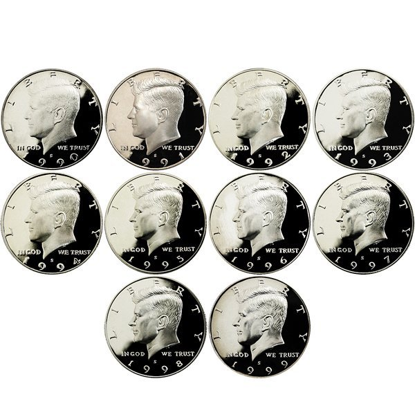 1990-1999-S Kennedy Half Dollar Clad Proof 10-Coin Set
