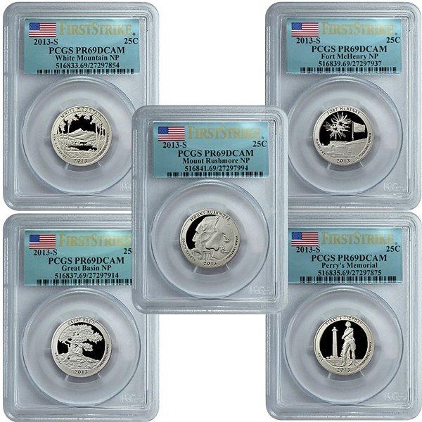 2013-S ATB Clad 25C PR69 PCGS 5-Coin Set