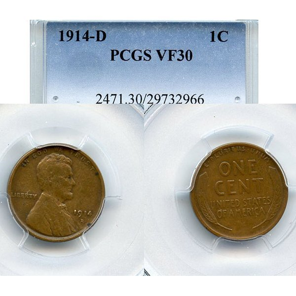 1914-D Lincoln Wheat Cent - VF30 PCGS