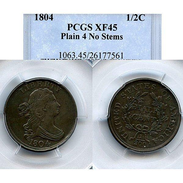 1804 Draped Bust Half Cent XF45 PCGS