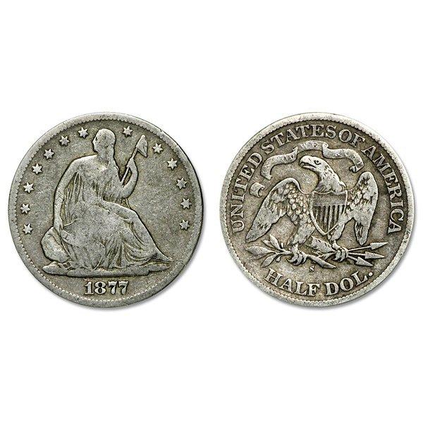 1877-S Seated Liberty Silver Half Dollar - VG