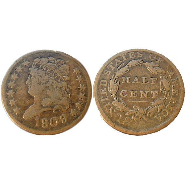 1809 Classic Head Half Cent Very Fine