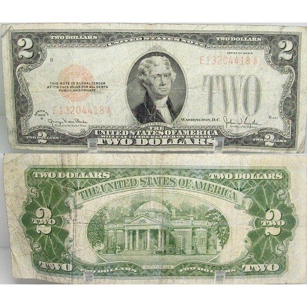 1928 $2 Bill - Red Seal Note - F-VF