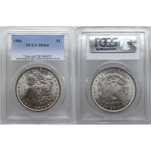 1886 $1 Morgan Silver Dollar MS64 PCGS