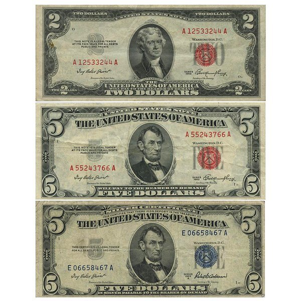 1953 $2,-$5 Red Seal and $5 Silver Certificate Notes