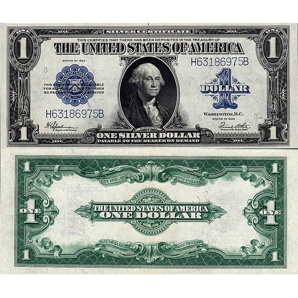 1923 $1 Silver Certificate - Large Size Note - AU