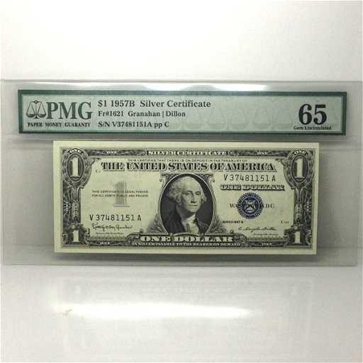 1957-B $1 Silver Certificate Gem UNC 65 PMG