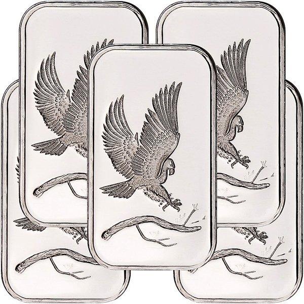1 Oz Eagle Design .999 Fine Silver Bar 5-Bar Set