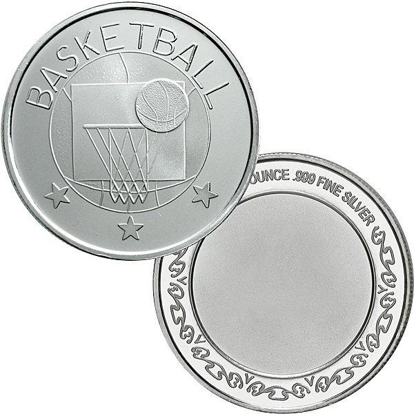 1 Oz Basketball Design .999 Fine Silver Round