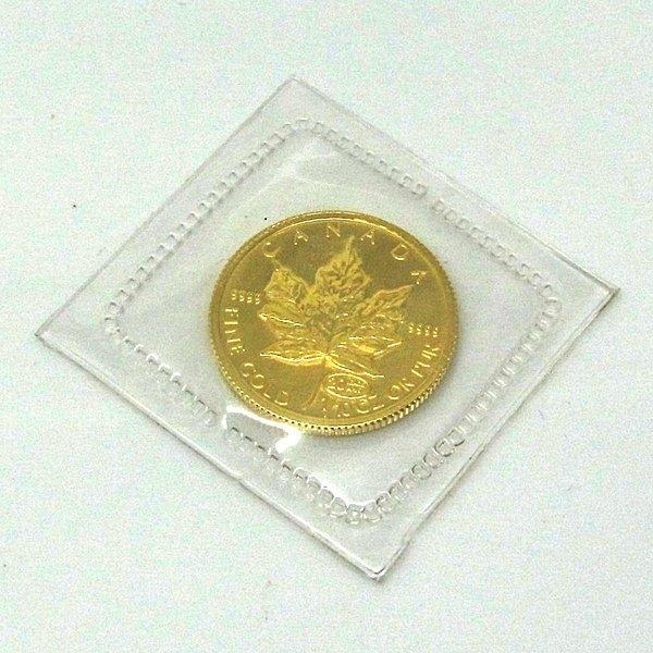 1/10 Oz BU 24k Gold Canadian Maple Leaf - Random Date!