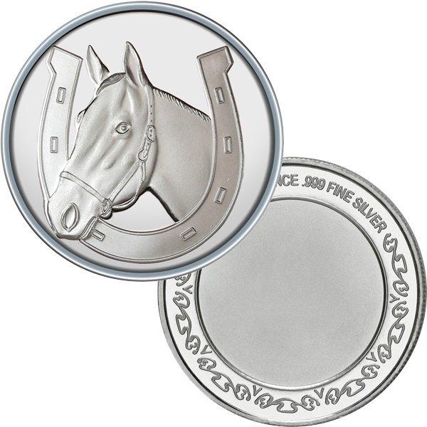 1 Oz Lucky Horseshoe Design .999 Silver Round
