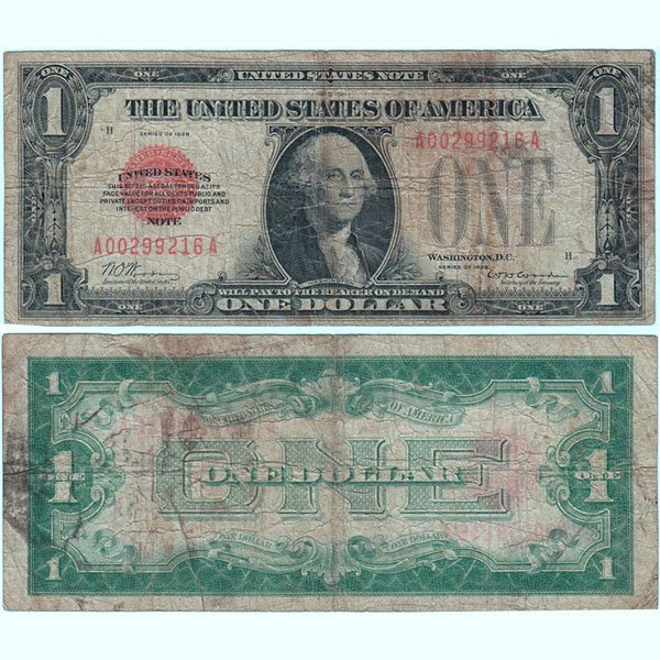 1928 $1 Bill - Red Seal Note - Very Good