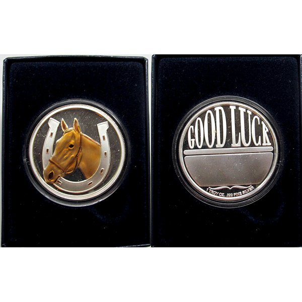 1 Oz Horsehead Good Luck Silver Round w/Gift Box -