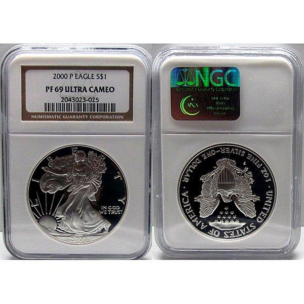 2000-P 1 Oz Proof Silver Eagle PF69 UC NGC