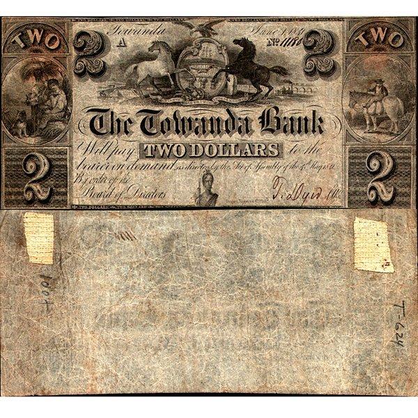 1841 $2 Bank of Towanda, PA - Fine