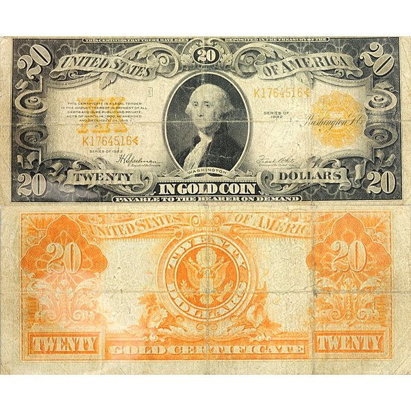 1922 $20 Large Size Note - Gold Certificate - Fine