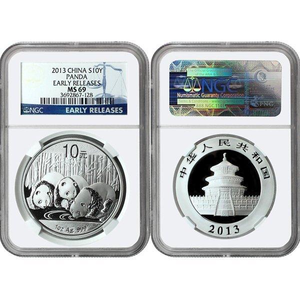 2013 Silver Panda ER MS69 NGC - Blue Label
