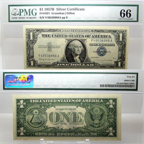 1957-B $1 Silver Certificate Gem UNC 66 PMG