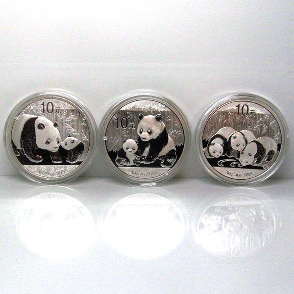 3-Coin Set: 2011-12-13 China silver Panda - Unc