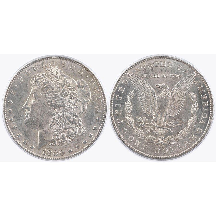 1880-CC $1 Morgan Silver Dollar - Almost Uncirculated