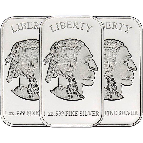 1 Oz Buffalo Design .999 Silver Bars 3-Bar Set